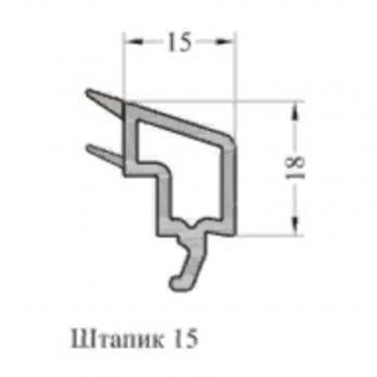 Штапик 15 с резиновым уплотнением серый, м.п.